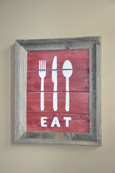 Red and White Rustic Wood 'EAT' Sign by dlynnart on Etsy