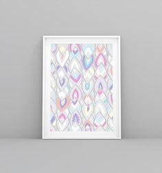 Illustration, Leaves Illustration, Modern Print, Colorful Print, Pattern Print, Mint, Boho Print, Digital Print