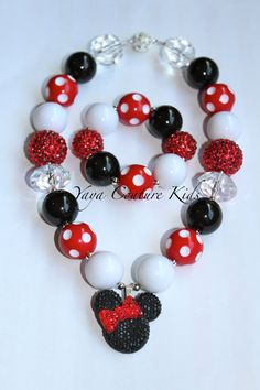 Minnie Mouse or Micky Mouse Chunky Beaded Necklace by YayasCouture, $20.00