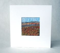 Autumn landscape  handmade card  stitched beaded by StitchMikki, $8.00  #handmade # autumn # fabriccard #fabricart #beaded #embroidered