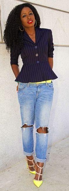 Shoxie Black Pinstripe Peplum Blazer by Style Pantry