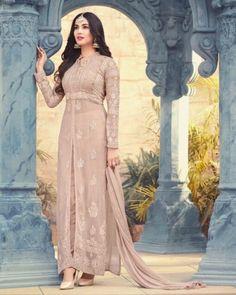 Light Beige Anarkali Gown - Amazin Fashion Anarkali Gown, Anarkali Suits, Latest Salwar Kameez Designs, Bollywood Theme, Designer Anarkali, Pakistani Suits, Light Beige, Chiffon, Gowns