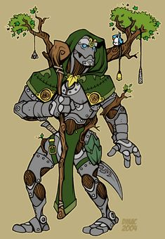A few warforged wilders become landforged walkers. These eccentric individuals actually grow plants inside their robotic shells Character Creation, Character Concept, Character Art, Concept Art, Character Design, Character Ideas, Dungeons And Dragons Characters, Dnd Characters, Fantasy Characters