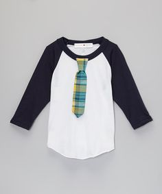 This Navy & White Plaid Skinny Tie Raglan - Infant, Toddler & Boys by mini scraps is perfect! #zulilyfinds