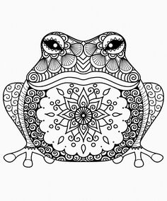 Hand Drawn Zentangle Frog For Coloring Book Adult Shirt Design Davlin Publishing