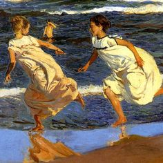 Joaquin Sorolla was a Spanish painter whose style was a variant of Impressionism. His best works, painted in the open air portray the seacoast of Valencia. Light Painting, Painting & Drawing, Painting Styles, Spanish Painters, Oil Painters, Vintage Artwork, Beach Scenes, Illustrations, American Artists