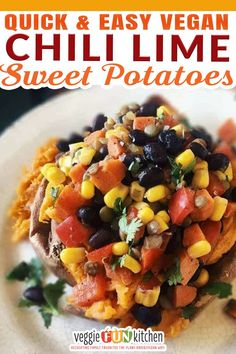 Something about pairing the naturally sweet goodness of the sweet potato with the tangy tartness of lime and slightly bitter spiciness of chili powder makes for a delightful cacophony of flavors. This Chili Lime Sweet Potatoes with Black Beans and Lentils recipe is vegan, plant-based, and gluten and oil free. This dish is perfect for meal prep. Cook it once and have six meals that are suitable for dinner or lunch. | @veggiefunkitchen #vegancomfortfood #veganfallrecipes #vegansidedishes Vegan Mexican Recipes, Vegan Lunch Recipes, Lentil Recipes, Bean Recipes, Healthy Recipes, Vegan Appetizers, Appetizer Recipes, Dinner Recipes, Vegan Meal Plans