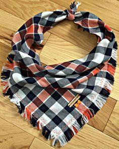 Frayed navy orange and white plaid dog bandana: TIMBER – InspirationByTogo