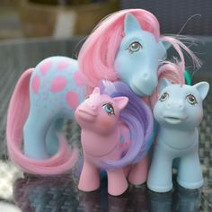 My Little Pony Family G1 MLP 1980s Bright Bouquet Sister, Sweet Celebrations Mummy & Brother