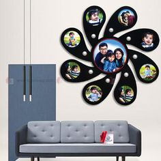 Flower Photo Collage, Wall Collage Picture Frames, Photo Collage Gift, Picture Frame Crafts, Flower Photos, Wall Clock With Pictures, Wooden Wall Design, Photo Wall Decor, Photo Frame Design