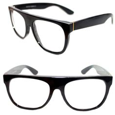 1fd86355fdd31 Men s Flat Top Eye Glasses Impero Super Clear Lens polished black Retro Nerd