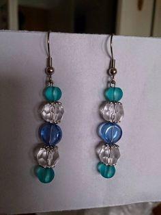 Blue turquise white earrings