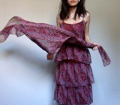 Vintage 70s Paisley Dress Sheer Tiered Ruffle Dress Womens Scarf Print Crimson Day Dress - Medium M
