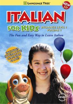 """ITALIAN FOR KIDS volume 1 introduces this beautiful language to kids in a way that engages them from start to finish. Starring native speakers and 3-D animated characters, ITALIAN FOR KIDS teaches the Italian language within the context of a fantastic birthday party - full of lively songs, delicious food and playful games. Marina and her cute puppy, """"Momo"""", clearly demonstrate useful phrases for everyday situations, such as meeting and greeting, eating, playing and much more"""