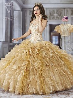 Organza strapless sweetheart Quinceanera ball gown embellished with beads from bodice to waistline, ruffled skirt, lace-up back, and a pouf short sleeve bolero.Gold/Multi