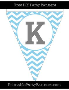 Baby Blue and White Pennant Chevron Capital Letter K
