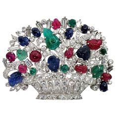 Diamond Multi Gem Basket Brooch   From a unique collection of vintage brooches at https://www.1stdibs.com/jewelry/brooches/brooches/