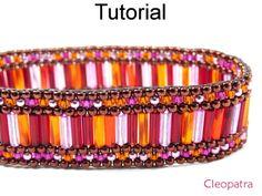 Cleopatra Beaded Peyote Stitch Bugle Bracelet Downloadbale PDF Beading Pattern Tutorial Instructions Directions | Simple Bead Patterns