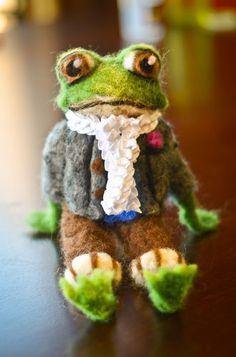 OOAK Needle Felted Froggy Frog Professor Ribbit Wool Art Felting unique decor by re-imaginations #frog #professor #toad #needelfelted