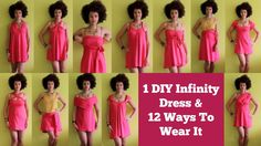 12 ways to wear a diy infinity dress, but it is too short for me; it would be a great tunic/top Infinity Dress Patterns, Infinity Dress Ways To Wear, Infinity Dress Tutorial, Blue Chiffon Dresses, Navy Blue Bridesmaid Dresses, Reuse Old Clothes, Convertible Clothing, Diy Clothing, Recycled Clothing