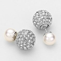 Double Sided Rhinestone Designer Inspired Pearl by SomaArtJewelry