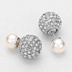 Double Sided Rhinestone Designer Inspired Pearl Earrings Studs - White
