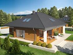 Single storey inspirational small house + plans , Ground-floor basement, with a loft to adapt, with double garage suitable for person family. Bungalow House Plans, Bungalow House Design, Modern House Plans, House Floor Plans, Single Storey House Plans, One Storey House, Flat Roof House, Facade House, Online Architecture