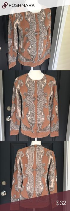"""Isaac Mizrahi Live Button Up paisley Cardigan NWOT beautiful full Button Up paisley design Cardigan. Brown and cream colored. Size small. Pit to pit 18 1/2"""" pit to Hem 17 1/2"""".  Material is cotton and Nylon. Isaac Mizrahi Sweaters Cardigans"""