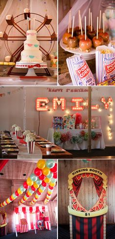 vintage carnival party.= love the kissing booth idea for pictures