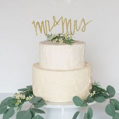 Jazz up a simple cake with a glittery gold topper announcing your newlywed status. This festive accessory is made by hand from thick birch wood.