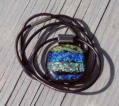 Waves of Gold Blue and Silver Dichroic Glass by LolasGlassPendants, $20.00