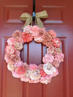 Coffee filter wreath by SarahKatesCrafts on Etsy, $65.00