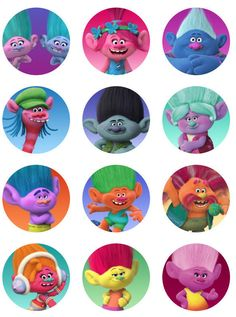 Trolls Movie cupcake toppers or stickers favor by printablespalace