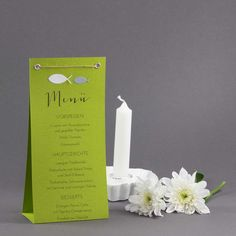 Menu card for confirmation as a stand in green – Invitation 2020 Ikea Hallway, Invitation Design, Invitations, Menu Cards, Stamping Up, Communion, Candles, Party, Table