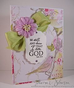Scripture card of encouragement using products by Verve, Prima and May Arts all from The Stamp Simply Ribbon Store.