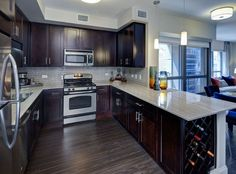 Model kitchen at AMLI River North, a luxury apartment community in Chicago.