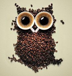 Оригинал схемы вышивки «сова кофе»