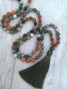 Falling Leaves Mala 108 bead, Hand knotted mala necklace made from 6mm Fancy Jasper and Rudraksha Seeds. Fancy Jasper ~ is a stone of gentleness and relaxation. It is professed to enhance ones ability to relax and bring tranquility, comforting, wholeness, healing, and gentle endings. As #necklacediy