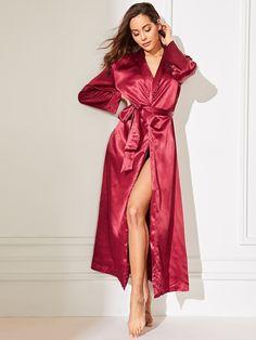 Damen Satin Morgenmantel Kimono Lang Bademantel Schlafanzug Negligee Nachthemd Nachtw/äsche Unterw/äsche V Ausschnitt mit G/ürtel Clearance!!
