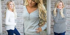 These darling thermal tops are warm, cozy and great for layering! Only $10.99!