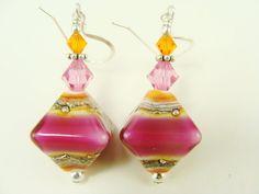 Pink Orange Lampwork Earrings