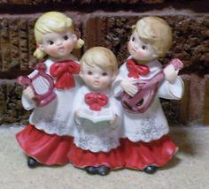 Vintage-Christmas-Musical-3-Angel-Choir-Figurines-Joy-to-the-World-JAPAN