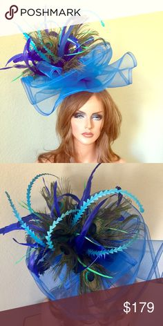 Royal Cobalt Blue Peacock Derby Fascinator Blue base with a headband. Feathers of your choice custom to match any outfit Jenifer Buckley Hats Accessories Hats