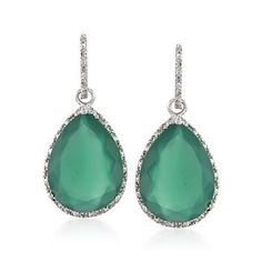 Green Agate and .17 ct. t.w. Diamond Drop Earrings in Sterling Silver