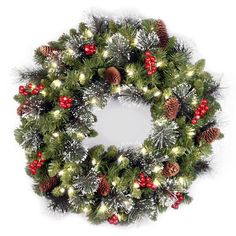 christmas wreaths with lights - National Tree 24 Inch Crestwood Spruce Wreath with Silver Bristles, Cones, Red Berries and 50 Battery Operated Soft White LED Lights *** Find out more regarding the great item at the photo link. (This is an affiliate link). Pre Lit Wreath, Christmas Wreaths With Lights, Artificial Christmas Wreaths, Christmas Door, Holiday Wreaths, Christmas Holidays, Holiday Fun, Christmas Decorations, Christmas Reef