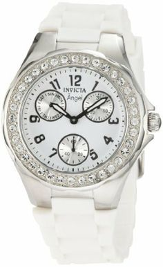 Invicta Women's 1648 Angel Crystal Accented White Dial White Silicone Watch Invicta. $89.99. White dial with black hands and arabic numerals; luminous; stainless steel bezel with crystal accents. Day, date and 60 second silver subdials. Water-resistant to 30 M (99 feet). Japanese quartz movement. Flame-fusion crystal; brushed and polished stainless steel case; white textured silicone strap