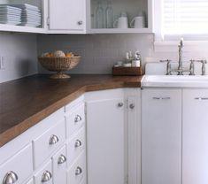 DIY Countertops -- Turn an old oak door into a gorgeous countertop!