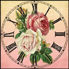 Shabby Rose Clock Digital Collage Sheet Instant by GalleryCat