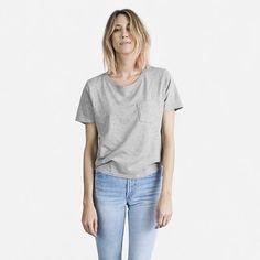 Women's Cotton Box-Cut Pocket T-Shirt by Everlane in Heather Grey, Size XXS