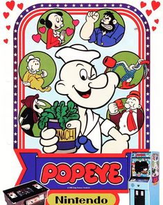 WEBSTA @favoritevideogamessince71 Popeye (1982 Arcade By Nintendo). Popeyeis avideo gamereleased byNintendo for the arcades in 1982. The object of the game is, as Popeye, to catch various items that are being released byOlive Oyl. Single-screen levels have to be traversed, usually back and forth, as the falling objects are being chased.The Sea Hag often appears and throws objects at Popeye, and vultures may roam the level, but the main enemy isBrutus.